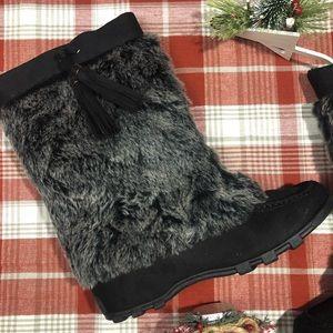 Back Fur Snow Boots